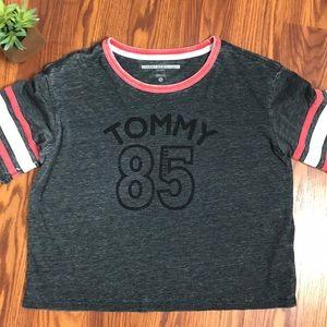 EUC Tommy Hilfiger gray short sleeve crop top